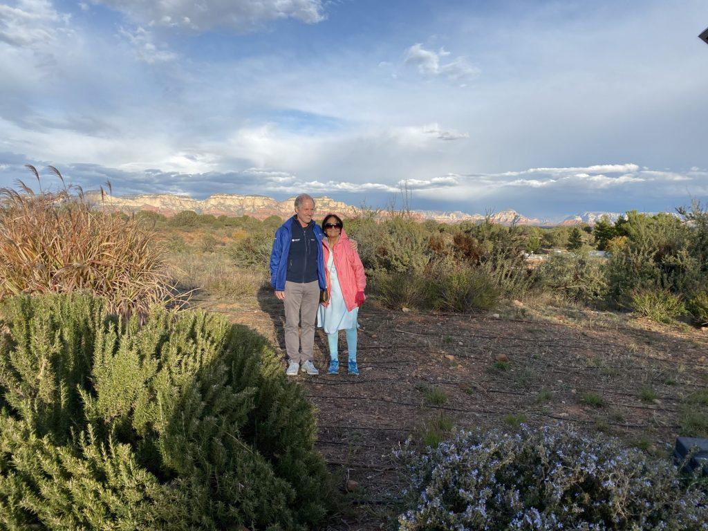 Scenic photo of Peter Kahn and Usha Varanasi at Reciprocal healing conference near Sedona, AZ